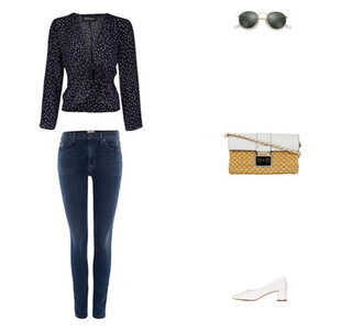 top blouse navy cropped jeans denim raffia bag shoulder bag chain bag sunglasses ballet flats michael kors rayban