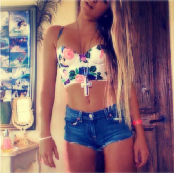 tank top clothes bralette floral bikini straps bra swimwear flowers bag shorts shirt bustier