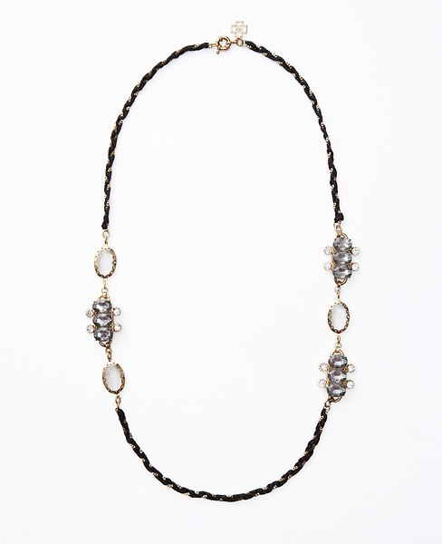 Crystal Braided Long Ribbon Necklace | Ann Taylor
