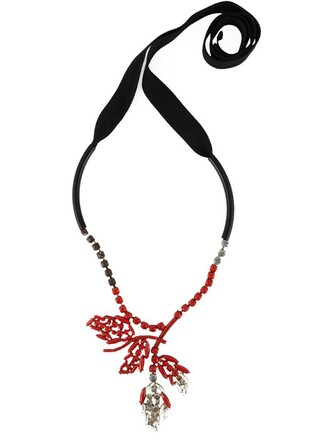 necklace floral red jewels