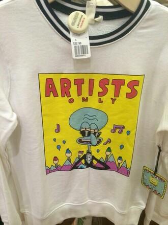 shirt dope shirt t-shirt bob esponja calamardo art artist yellow comics tv white spongebob squidward artist.