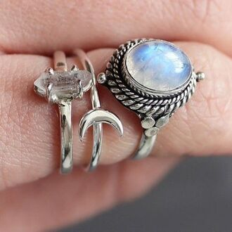 jewels shop dixi gypsy boho bohemian hippie grunge jewelry jewelery moonstone ring crescent moon