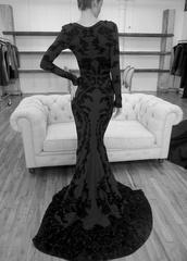 dress,prom dress,zac,posen,navy,velvet,long sleeves,long sleeve dress