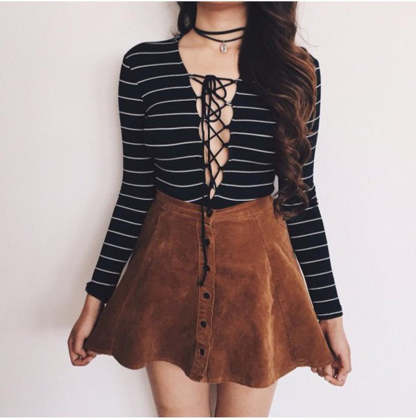 Shirt Cut Out Shirt Tumblr Suede Skirt Button Up Skirt Brown Skirt Lace Up Top Striped ...