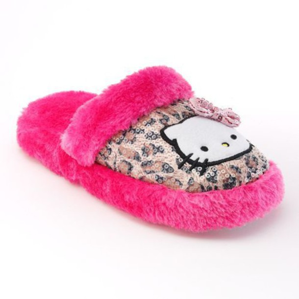 shoes hello kitty® animal sequin plush slippers