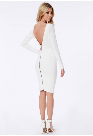 Missguided - Open Back Zip Detail Midi Dress White
