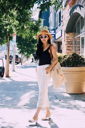 hallie daily,blogger,tank top,top,pants,bag,sunglasses,hat,jacket,shoes,jewels,sandals,white pants,summer outfits