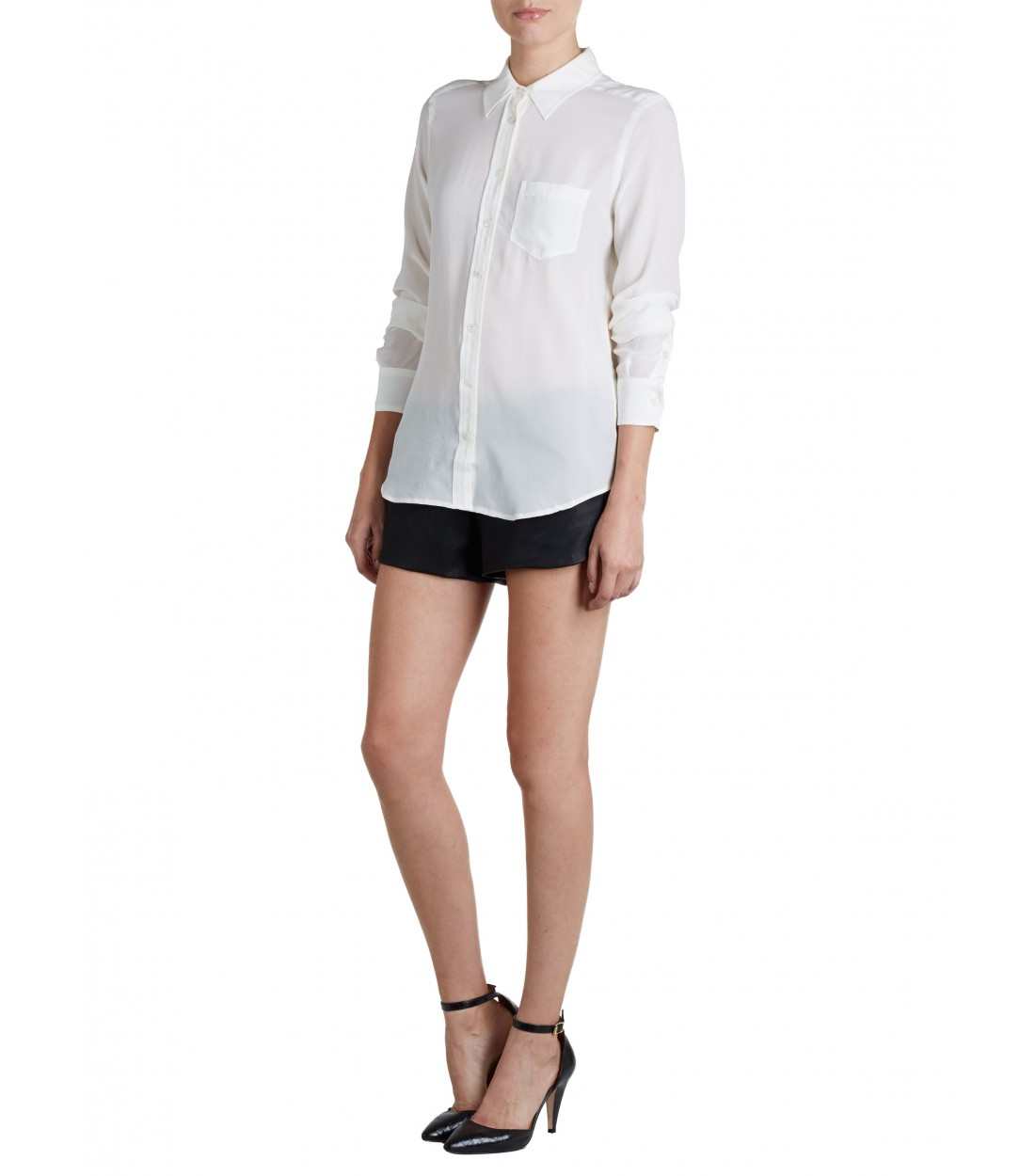 EQUIPMENT Brett Nature White | Long Sleeve Relaxed Slim Shirt