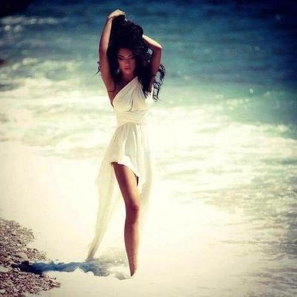dress white dress one shoulder white dress megan fox flowy layered cream dress cute pretty