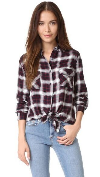 shirt plaid shirt plaid navy top
