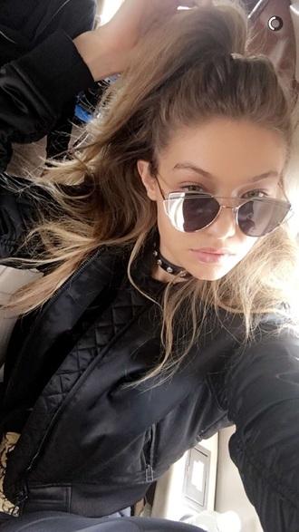 sunglasses silver jewelry gigi hadid gigihadidstyle black gold