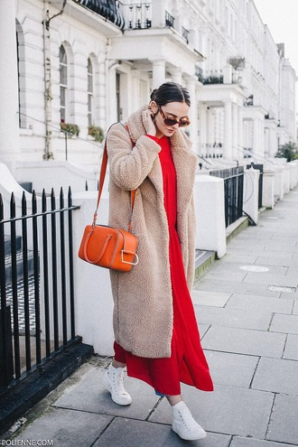 dress red dress coat camel coat teddy bear coat sneakers white sneakers sunglasses maxi dress high top sneakers