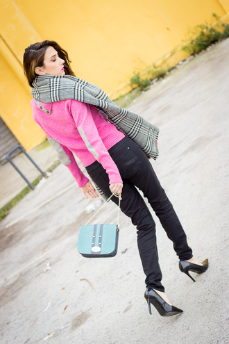 pink blogger bag shoes and basics blanket scarf