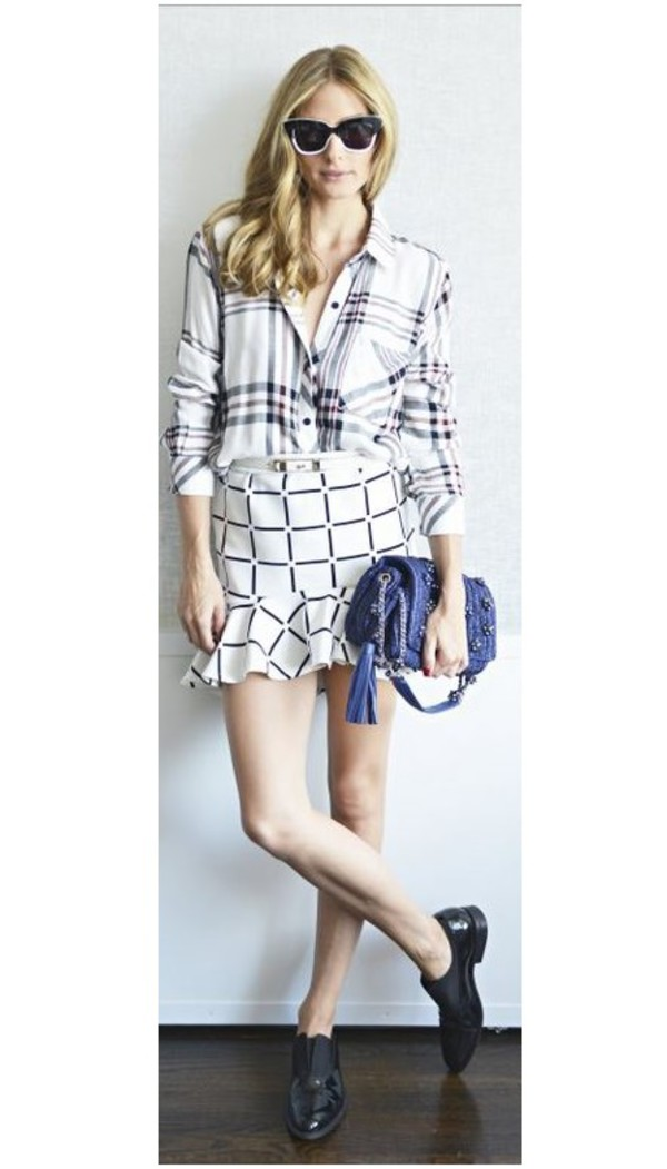 skirt olivia palermo shirt shoes