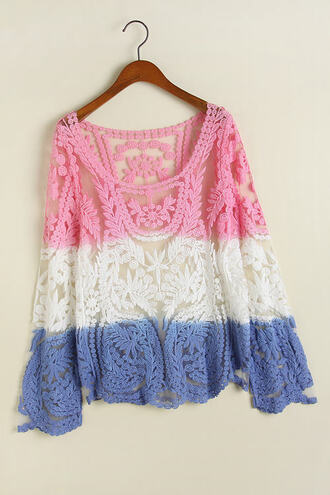 blouse hollow out crochet lace blouse leaf sheer gradual color