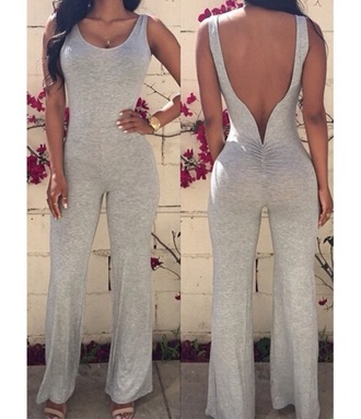 jumpsuit grey tumblr sexy summer fashion style wide-leg pants