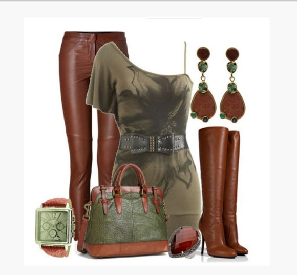 earrings blouse top shirt bag shoes clothes outfit olive top one shoulder off the shoulder form fitting top pants auburn pants skinny pants boots high heels high heel boots knee high boots watch short sleeve