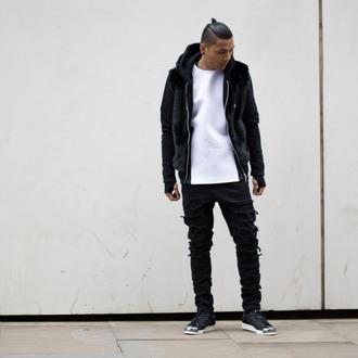 jeans black jeans menswear fashion blvck mvnivc instagram vogue fur jacket neoprene white t-shirt mens ripped jeans blogger kanye west