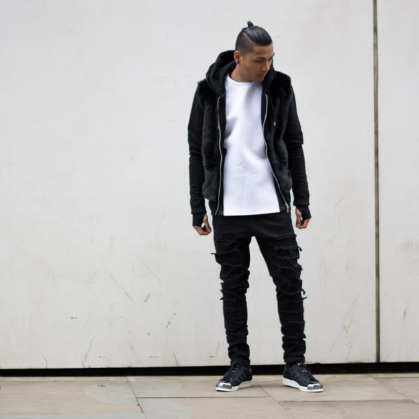 077352abd5b jeans black jeans menswear fashion menswear blvck mvnivc blogger instagram  kanye west vogue fur jacket neoprene