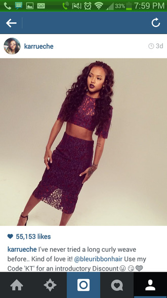 dress skirt burgundy karrueche lace midi skirt celebrity style crop tops instagram