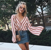blouse,red and white stripped shirtt,skirt,denim,mini skirt,forever 21 skirt,striped top,pink shoes,forever 21,aviator sunglasses,red,white,stripes,top,pink and white,bell sleeves,long sleeves,v neck,shirt