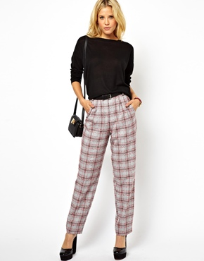 ASOS | ASOS Straight Leg Trousers in Plaid Check at ASOS