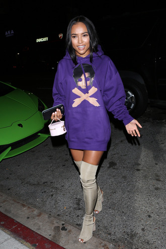 sweater sweatshirt hoodie karrueche boots over the knee boots booties purple oversized shoes sports sweater