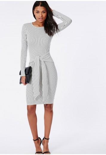 Tie waist long sleeve midi dress white/black stripe