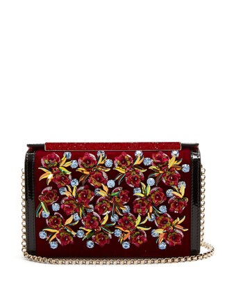 embroidered clutch velvet black bag