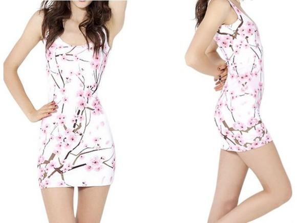 skinny floral dress flowers dress white roses pink trees short dress