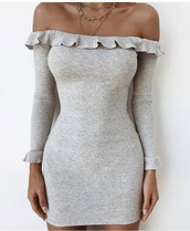 dress,short dress,grey,off the shoulder,cute,love,fancy,casual,midi dress,ruffle,ruffle dress,instagram,baddies,sexy