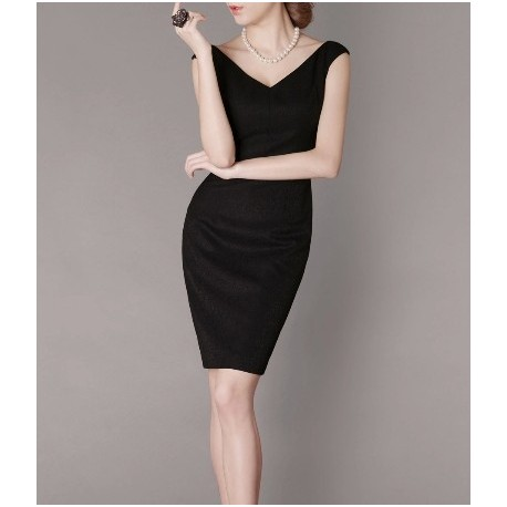 Black Retro Elegant Noble Summer OL Slim V-neck Women Fashion Dress lml7036 - ott-123 - Global Online Shopping for Dresses