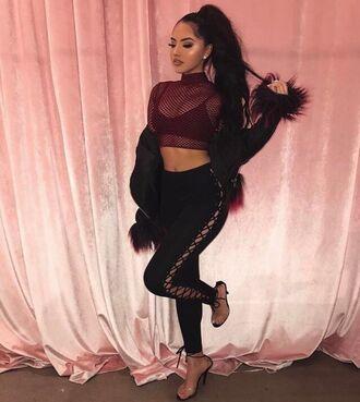 jeans black pants lace lace up tie up tumblr baddies