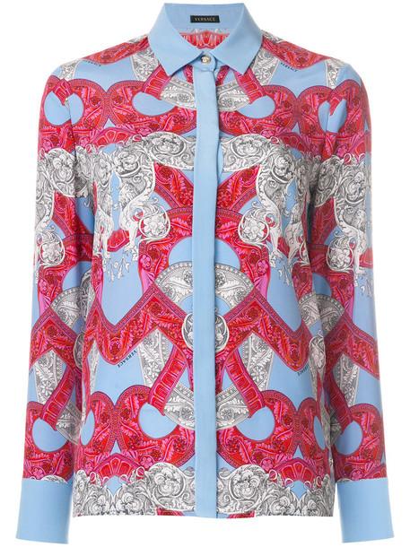 VERSACE shirt women print blue silk top