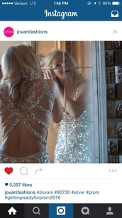 dress,silver dress,open back prom dress,open back,long prom dress,elegant,sexy,sequins,sequin dress,prom dress,sparkle,sparkly dress