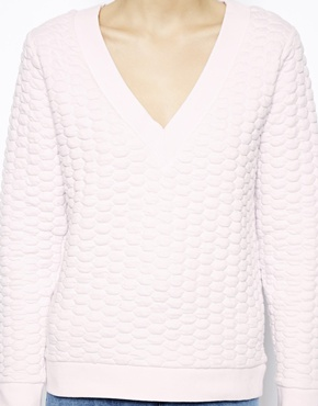 ASOS | ASOS Quilted Sweatshirt with V Neck at ASOS