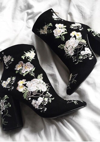 shoes velvet flowers black heels boots ankle boots embroidered