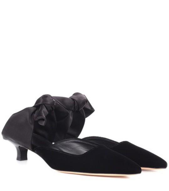 The Row mules velvet satin black shoes