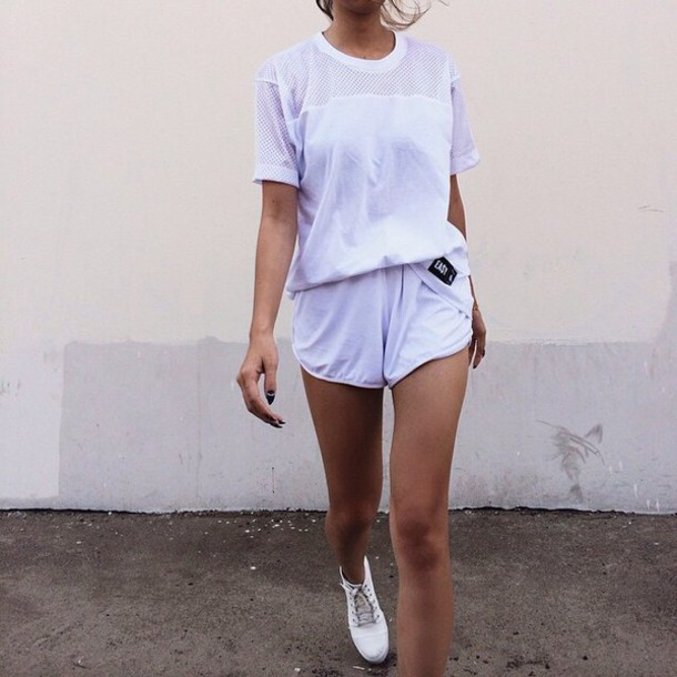 top shirt white white t-shirt shorts set mesh dope white crop tops