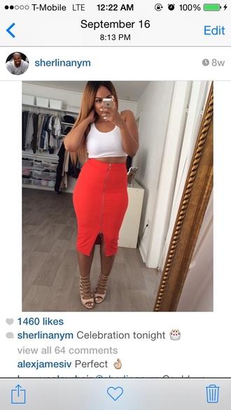 zip up skirt bodycon dress midi skirt orange skirt fall fashion 2014 fall outfits