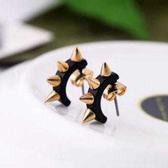 jewels jewelry punk vintage metal spiked earrings punk's not dead gold jewelry spikes