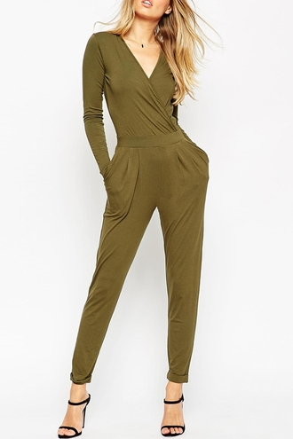 jumpsuit zaful khaki army green fall outfits v neck plunge v neck streetwear