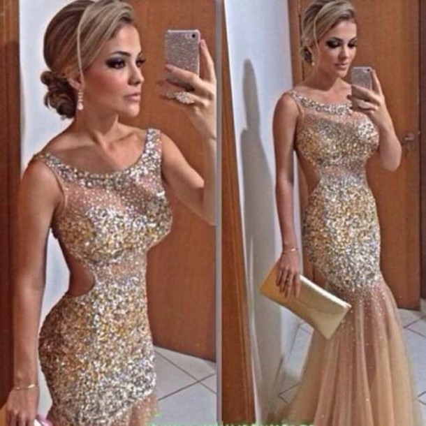 dress, nude evening gown, nude prom dree, nude prom gown, prom gown ...