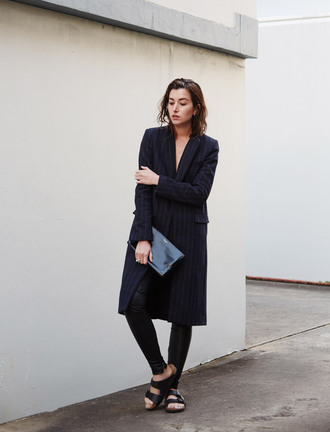 the chronicles of her bag jewels masculine coat blue coat stripes leather leggings leggings black leggings black bag no gender equality