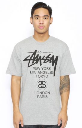Stussy, H12 World Tour T-Shirt - Grey - T-Shirts - MOOSE Limited