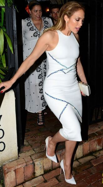 dress midi dress jennifer lopez white dress bodycon pumps