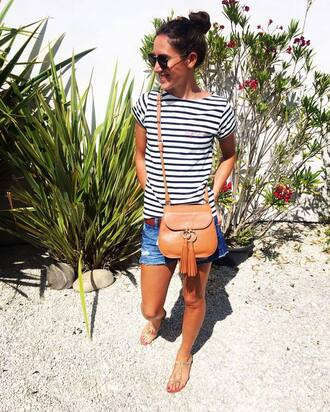 t-shirt maison labiche striped t-shirt shorts denim shorts blue shorts bag camel bag crossbody bag sandals flat sandals sunglasses summer outfits
