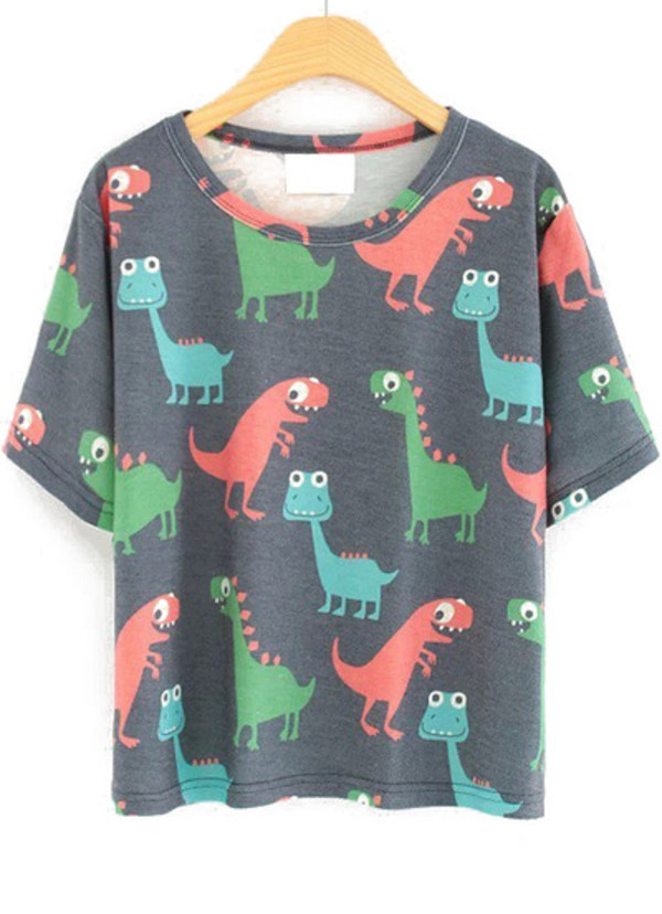 dinosaur cartoon short sleeve t-shirt shirt cute teenagers