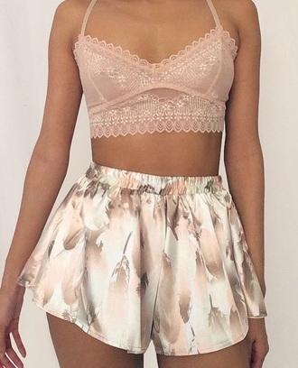 jumpsuit two-piece bralette shorts sleepwear silk floral lace bralette floralshorts silkshorts sleep sleepclothes