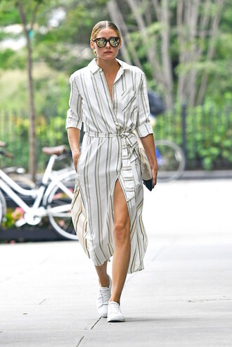 blogger sunglasses dress shoes pocket dress midi dress striped dress three-quarter sleeves slit dress button up button up dress mirrored sunglasses olivia palermo sneakers white sneakers low top sneakers